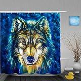 N\A Dekoration Duschvorhang Wolf African Wildlife Theme Badvorhänge Wasserdichter Stoff Badezimmer Dekor Set mit Haken