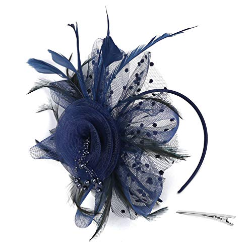 Xflyee Fascinators Hat Flower Mesh Ribbons Feathers Tea Party Cocktail Headband for Girls and Women (Navy / 7 Inch Diameter)
