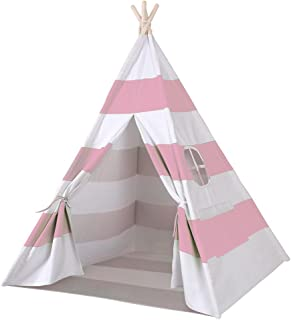 e-joy 6' Indoor Indian Playhouse Toy Teepee Play Tent for Kids Toddlers Canvas Teepee with Carry Case with Mat (Pink Stripe)