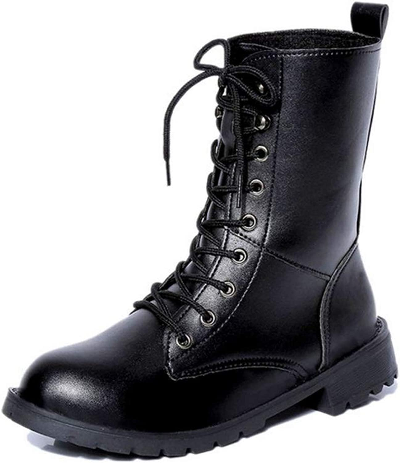 ASO-SLING Women's Mid Calf Winter Snow Boots Round Toe Knee High Punk Military Combat Booties