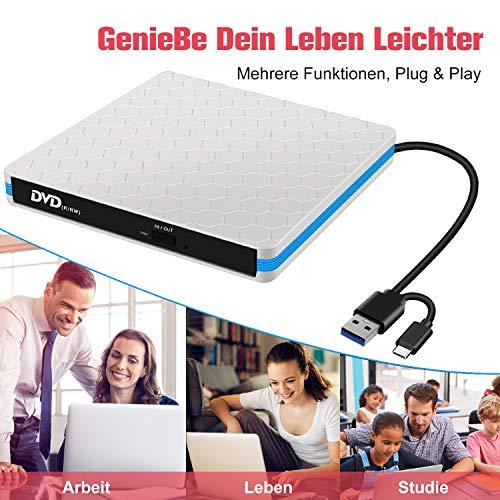 Externes CD DVD Laufwerk USB 3.0 und Typ C, Portable DVD/CD Brenner,schnelle Datenübertragung,Plug&Play,für Laptop, Desktop, MacBook, Windows 10/8/7/XP/Vista