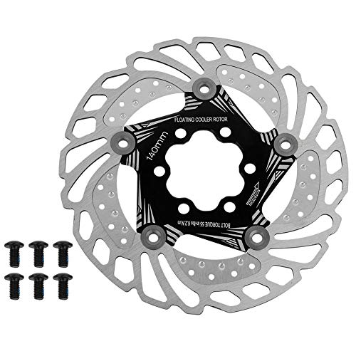 Alomejor Rotori Disco Freno Flottante per Mountain Bike MTB Freni a Disco di Raffreddamento Rapido a 6 Bulloni 140 mm Alta qualità Disco Freno Rotori per Ciclismo(Nero)