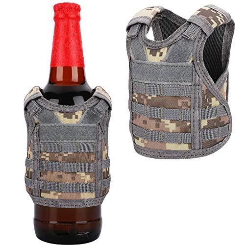 Accmor 2 Pack Beverage Beer Vests, Mini Tactical Molle Beverage Cooler Holder Drink Bottles Vest for 12oz or 16oz Cans or Bottles, Adjustable Camouflage Beverage Carrier Cool Bottle Decoration