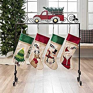 Farmhouse Vintage Red Truck Bronze Finish Metal Freestanding Christmas Stocking Holder Stand Holiday Decor Stocking Hanger Stand