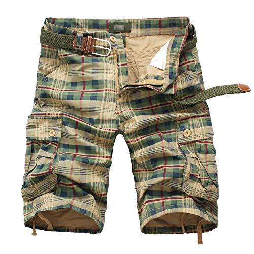 Pantalones Cortos de Carga para Hombre Pantalones Cortos de Entrenamiento de Entrenamiento al Aire Libre Transpirables con múltiples Bolsillos Estampados a Cuadros Europeos y Americanos 40