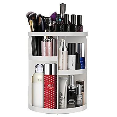 Etmury Makeup Organizers and Cosmetic Storage Holder for Bathroom Vanity Countertop 360 Rotating Adjustable Detachable Make Up Accessories Display Shelves Man Women, Round White