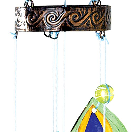 Bits and Pieces–Windspiel, bunter Pfau–Metall und Glas zum Aufhängen, Skulptur und Windspiel - 4
