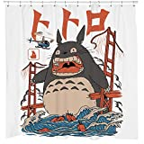 Sharp Shirter Funny Anime Shower Curtain Set White Kids Bathroom Decor Cute Monster California 71x74 Waterproof Hooks Included