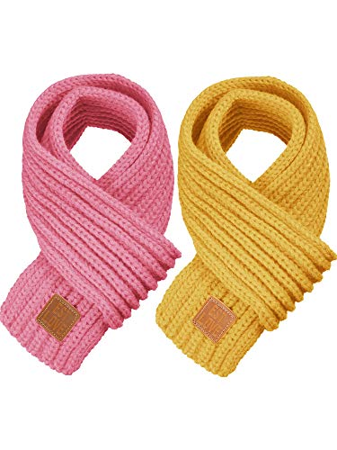 Zhanmai 2 Pieces Kids Winter Warm Knit Scarves Warm Scarf Neck Warmer for Toddlers Boys Girls (Pink, Yellow)