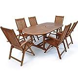Deuba Sitzgruppe Vanamo 6+1 FSC®-zertifiziertes Eukalyptusholz klappbar 7-TLG Tisch Sitzgarnitur Holz Gartenmöbel Garten Set