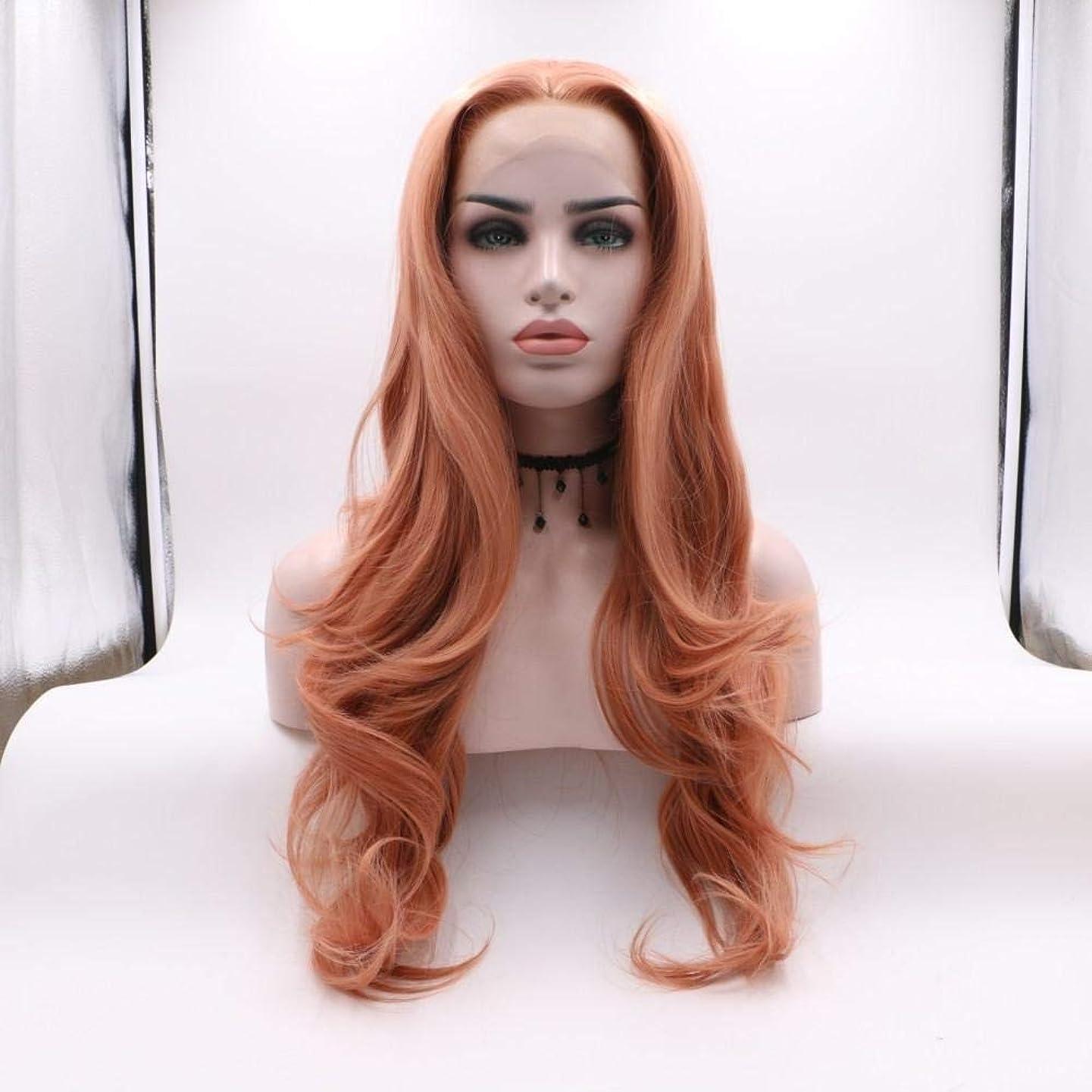 国歌社交的安全でないBOBIDYEE オレンジ色の長い巻き毛の大きい波cosかつら女性のためのパーティードレス日常的な毎日の複合ヘアレースかつらロールプレイングかつら (色 : オレンジ)