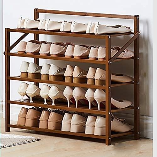 HHTX Zapatero Plegable de bambú, Estante de Almacenamiento portátil Multifuncional para Zapatos de 5 Niveles, Organizador de Almacenamiento de Zapatero para Plantas de Entrada, marrón 70x23.8x75c