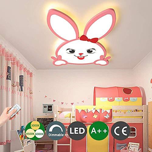 46 W Kid LED plafondlamp cartoon gesloten ogen leuk konijntje plafondlamp dimbaar met afstandsbediening acryl lamp metaal lampenkap verlichting voor meisjes kinderkamer lamp 55 cm x 3