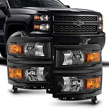 ACANII - For 2014-2015 Chevy Silverado 1500 Pickup Truck Black Housing Headlights Headlamps Pair Set Driver & Passenger