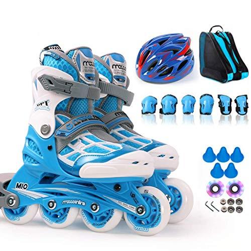 Verstellbare Inline Skates, Kinder S Adult Skates Mit Flashing Wheels Kinder Inline Skates, High-elastische abriebfeste PU-Rad (Farbe: Blau, Größe: M 31-34) dongdong ( Color : Blue , Size : M 3134 )