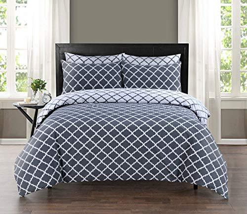 100% Pure Cotton Printed Reversible Duvet Quilt Cover Set, Double - Spades Grey
