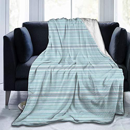 SUGARHE Manta de Franela Suave,Waves Theme Zig Zag Imagen de Bordes nítidos en Tonos Azules,Cama de Camping para sofá 153x127cm
