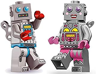 LEGO Minifigures: 1x Clockwork Robot (Series 6) and 1x Lego Lady Robot (Series 11)