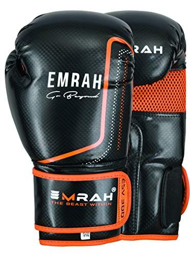 EMRAH ESV-300 Boxhandschuhe Muay Thai Training Leder Sparring Boxsack Handschuhe Kickboxen Kampf (Orange, 10 oz)