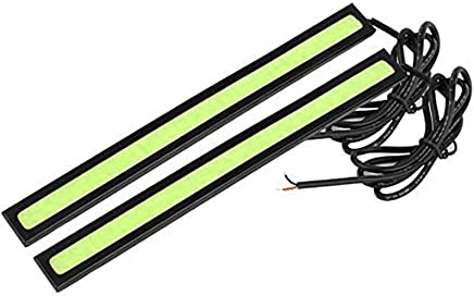 Studyset Car Headlight COB Green Light Bars DRL Fog Lamp Daytime Driving Light Ultra-Thin Design 17CM Black 2Pcs