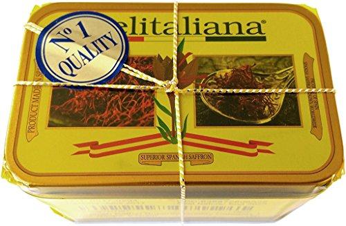 Delitaliana Spanish Saffron Tin 5-Gram, All Red Coupe Quality Threads Category I, Pure Saffron Filaments
