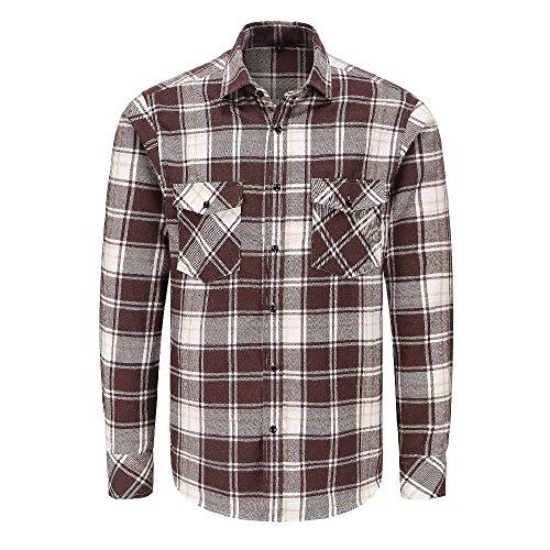 NOBRAND Camisa de algodón para hombre de manga larga esmerilado a cuadros doble bolsillo camisa primavera y otoño engrosada franela casual camisa