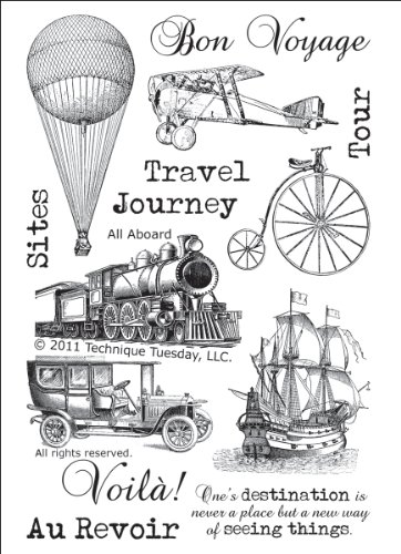 All Aboard Vintage Travel Clear Stamps | Clear Rubber Stamps | Photopolymer Stamps | Card Making Supplies | Scrapbooking Stamps