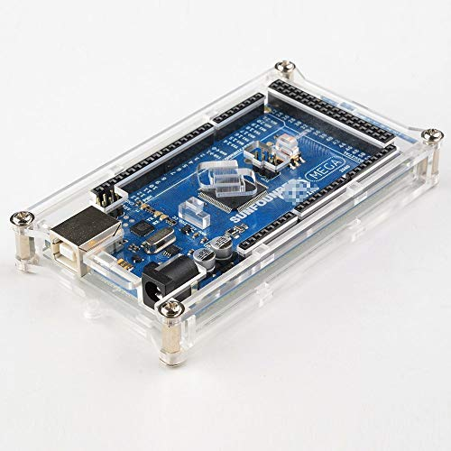 SUNFOUNDER Mega 2560 Case Enclosure Transparent Glossy Acrylic Computer Box Compatible with Arduino Mega 2560 Rev3 R3, Genuino Mega 2560 Rev3 and Other Compatible Mega (MEHRWEG)