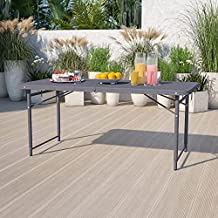 Flash Furniture 4-Foot Height Adjustable Bi-Fold Dark Gray Plastic Folding Table with Carrying Handle