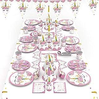 مجموعة ادوات المائدة للاستعمال لمرة واحدة بتصميم وحيد القرن لون زهري مع مستلزمات الزينة من لافتات، وقبعات، واقنعة، ومفرش م...