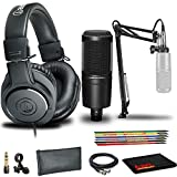 Audio-Technica AT2020PK Studio Microphone Pack with ATH-M20x, Boom and XLR Cable, Protective Pouch, and 6-Pack Reusable Cable Ties