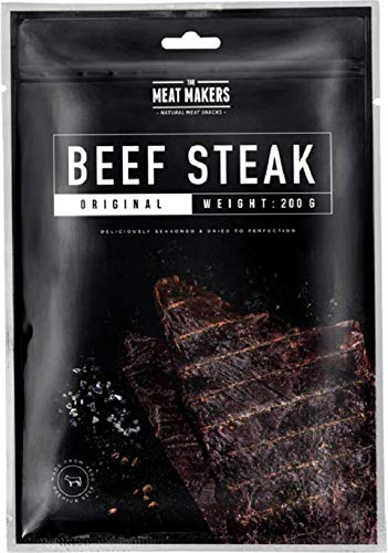 The Meat Makers | BIG PACK Original Dried Beef Jerky Steak (200g) – Trockenfleisch Rindfleisch Für Menschen