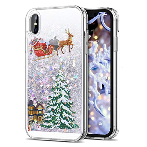 CinoCase iPhone Xs Max Case 3D Liquid Case [Christmas Collection] Flowing Quicksand Moving Stars Bling Glitter Snowflake Christmas Tree Santa Claus Pattern Hard Case for iPhone Xs Max 6.5 inch Silver