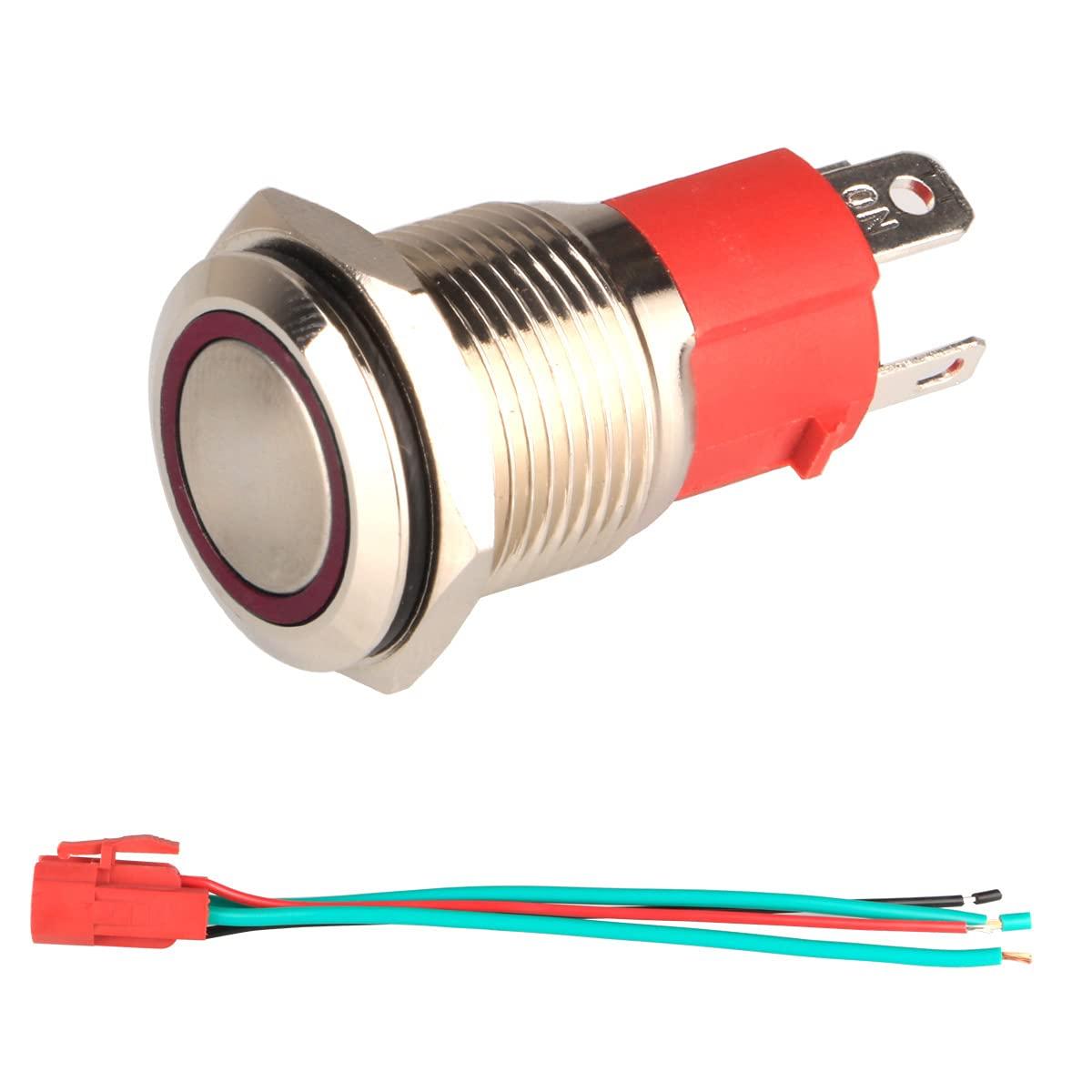 GUUZI 12V-24V / 15A Interruptor de Botón Momentáneo NO, Luz LED Roja Impermeable Iluminado 16mm Botón de Encendido de Metal con Cable de Enchufe
