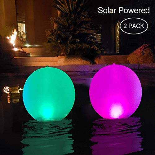 "Floating Pool Lights Inflatable Waterproof IP68 Solar Glow Globe,14"" Outdoor Pool Ball Lamp 4 Color Changing LED Night Light, Party Decor for Swimming Pool,Beach,Garden,Backyard,Lawn,Pathway - 2 PCS"