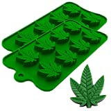 Marijuana Pot Leaf Silicone Candy Mold Trays for Chocolate Cupcake Toppers Gummies Ice Soap Butter Molds Small Brownies or Party Novelty Gift, 2 Pack
