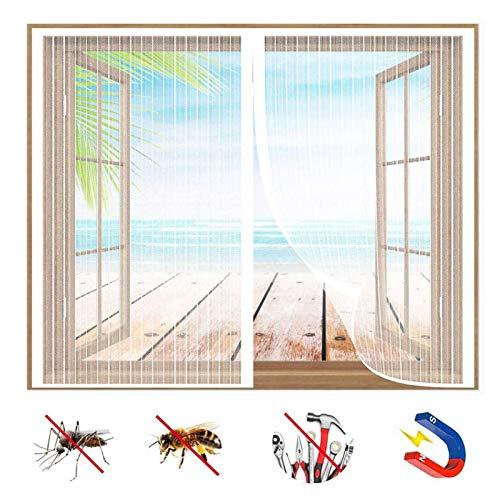 Mosquitera Ventana Magnetica, Protección Contra Insectos, Cortina de Malla Con Imanes, Cierra AutomáTicamente y es FáCil de Instalar, para Puertas y Ventanas-White-a|| 62x64inch(160x165cm)