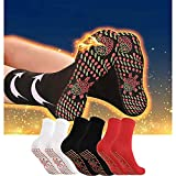 ZSWWang Outdoor Heated Socks for Men Women, Self Heating Socks Magnetic Socks Tourmaline Socks, Comfortable Breathable Massage Anti-Freezing Warm Foot Socks Hiking Skiing (B-Black)