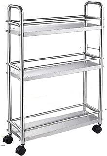 li@ 304 Stainless Steel Rolling Kitchen Storage Cart On Wheels, 3-Tier Kitchen Trolley Storage Rack,Floor-Standing Multifunction Shelving