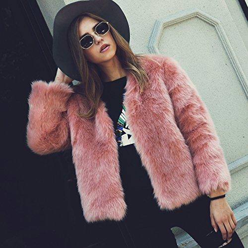 VLUNT Mujer Abrigo de Pelo Chaqueta Invierno Abrigo de Piel Sintética de Fox Chaqueta Fur Coa Winter Fur Jacket (Rosa)