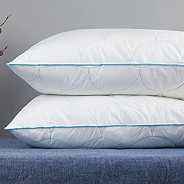 Set of 2, YSTHER Adjustable Height Down Alternative Bed Pillows, Cloud Quilted, 100% Cotton, Standard / Queen Size