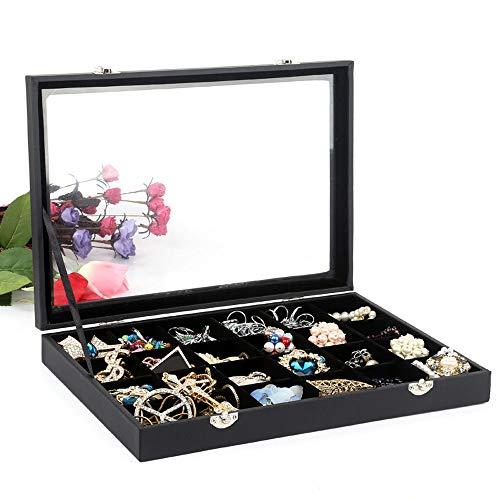 POFET Bandeja de joyería, organizador de joyas de 24 rejillas con tapa...