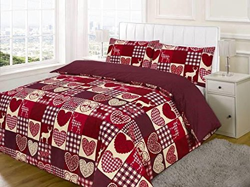 EDS Christmas Hearts Patchwork Duvet Cover and Pillowcase Bedding Bed Set, Red/Multi-Colour, Double