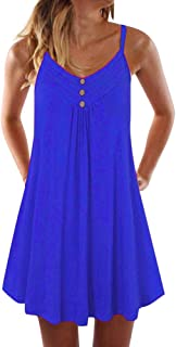 Ecolley Spaghetti Strap Summer Dresses for Women Mini Beach Dress Sundress with Decor Buttons Pleated Swing Sexy Cover Ups