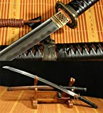 Damascus Folded Steel Clay Tempered Handmade Japanese Samurai Katana Sword