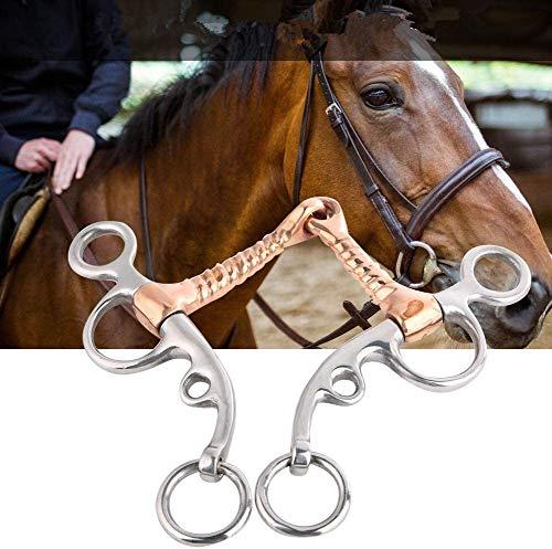 HEEPDD Pferdetrense, Western Allzweckring Snaffle Bit Edelstahl Breaking Bit Roller Pferd Steif-Bit