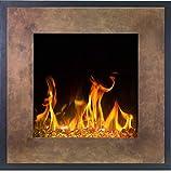 Chimenea eléctrica de pared LED FORT marrón Aflamo, hogar reemplazable, 3 colores de llama LED