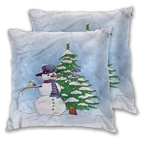 Xlcsomf - Juego de 2 fundas de almohada decorativas cuadradas de 20 x 20 pulgadas, diseño de muñeco de nieve y árbol, impresión de doble cara, decoración navideña