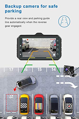Dash Cam Front and Rear CHORTAU Dual Dash Cam 3 inch Dashboard Camera Full HD 170° Wide Angle Backup Camera with Night Vision WDR G-Sensor Parking Monitor Loop Recording Motion Detection