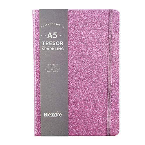Quaderno A5 glitterato, a righe, con copertina rigida, 96 fogli, per ragazze e donne, colore viola